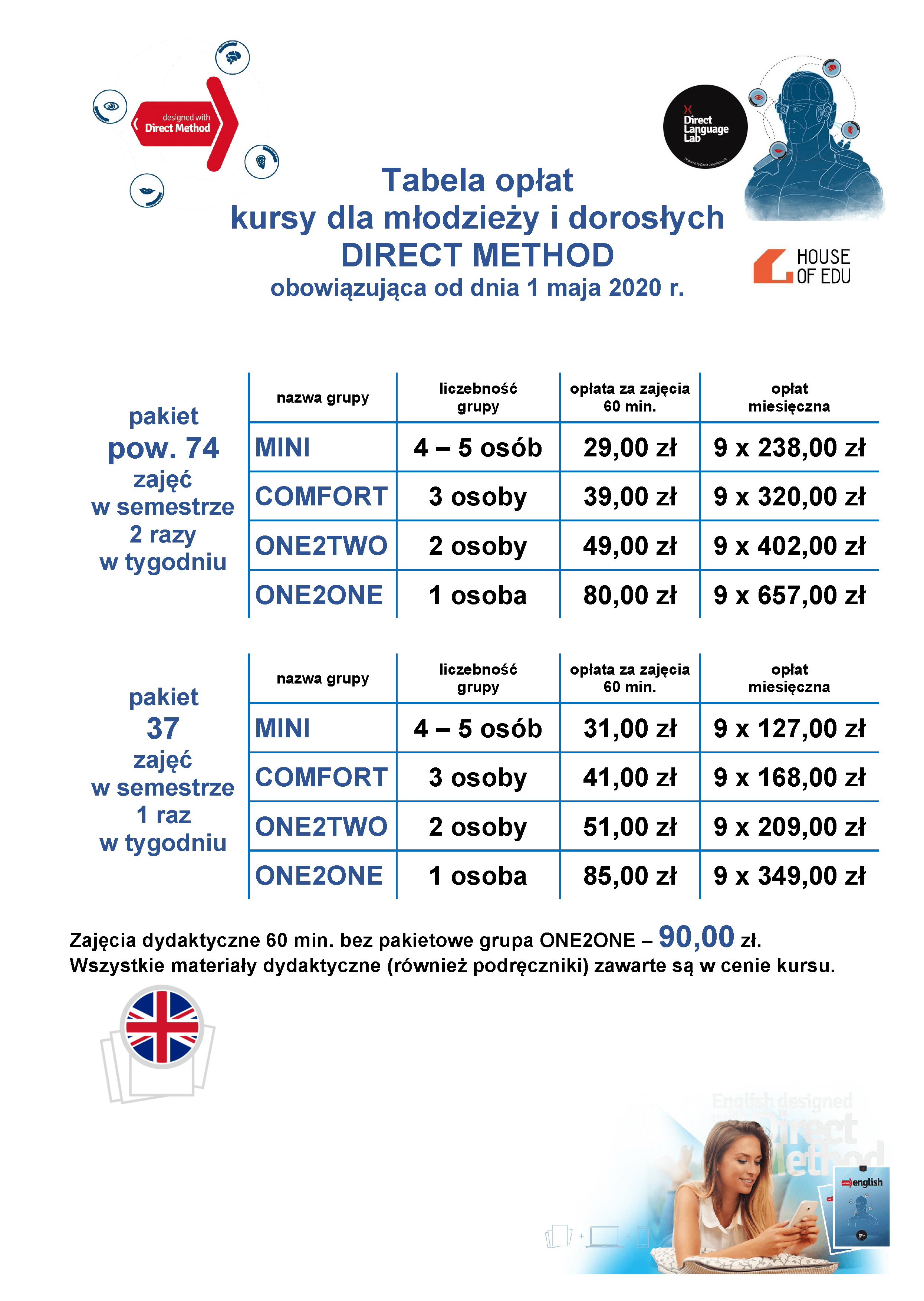 190711 Tabela Opłat Direct English General Adults And Teens